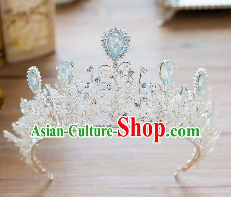 Handmade Classical Hair Accessories Baroque Crystal Royal Crown Princess Opal Coronet for Women