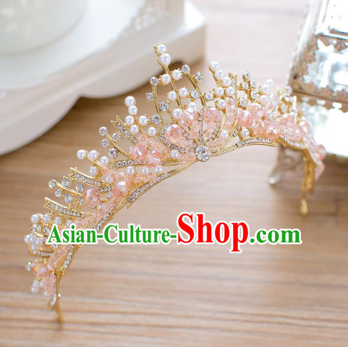 Handmade Classical Hair Accessories Baroque Pink Crystal Beads Royal Crown Princess Coronet for Women