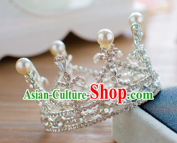 Handmade Classical Hair Accessories Baroque Pearl Crystal Round Royal Crown Princess Hair Clasp for Women
