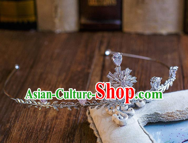 Handmade Classical Hair Accessories Bride Baroque Crystal Snowflake Royal Crown Headwear for Women