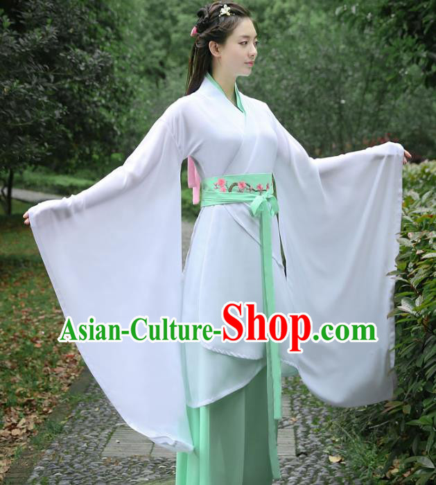 Traditional Chinese Ancient Princess Costume Han Dynasty Palace Lady Embroidered White Curving-front Robe for Women