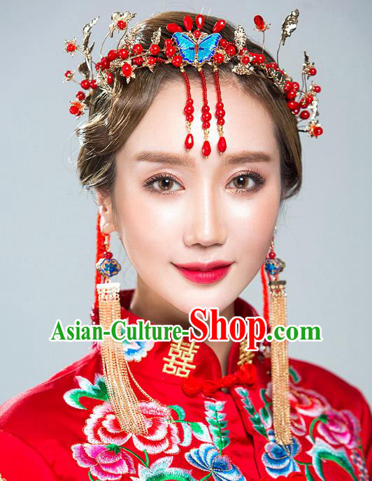 Chinese Handmade Classical Hair Accessories Ancient Blueing Butterfly Hair Clasp Tassel Hairpins for Women