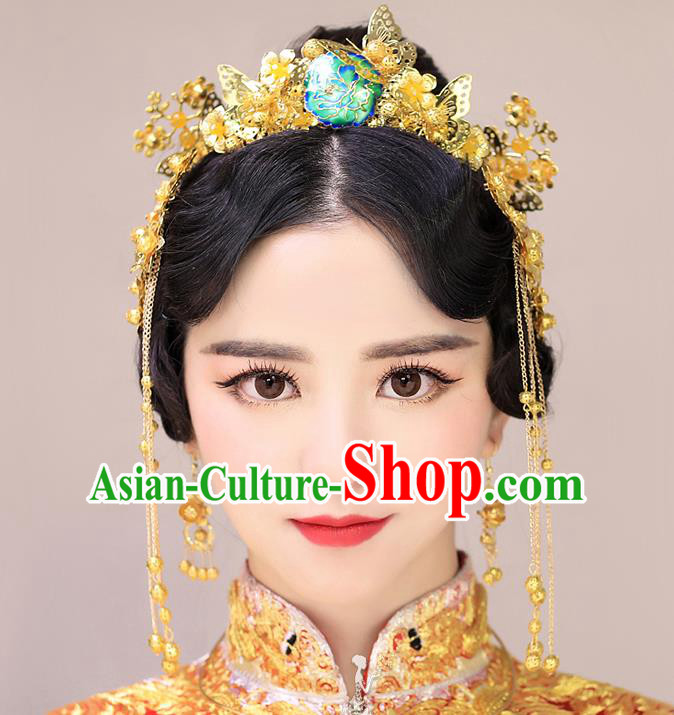 Chinese Handmade Classical Hair Accessories Ancient Bride Golden Butterfly Hair Clasp Tassel Hairpins for Women