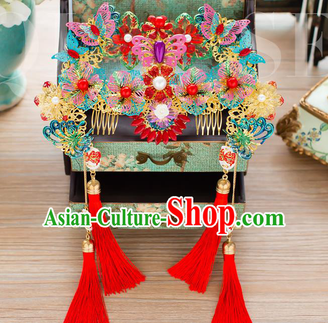 Chinese Handmade Classical Hair Accessories Wedding Hairpins Colorful Butterfly Phoenix Coronet Headwear
