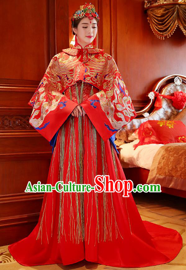 Traditional Ancient Chinese Wedding Costume, China Style Xiuhe Suits Bride Toast Red Embroidered Clothing for Women