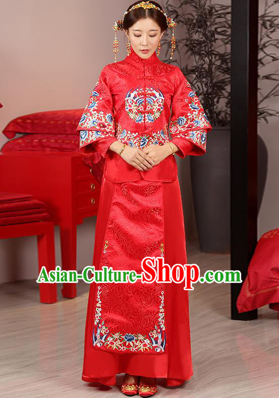 Traditional Ancient Chinese Wedding Costume, China Style Xiuhe Suits Bride Toast Cheongsam Embroidered Clothing for Women