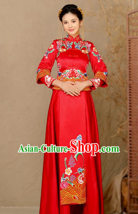 Traditional Chinese Wedding Costume Ancient Bride Toast Cheongsam Embroidered Peony Xiuhe Suits for Women