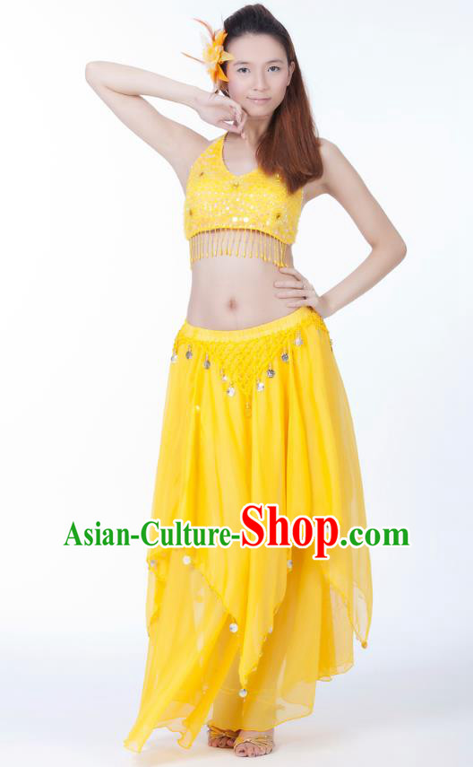 Indian Bollywood Belly Dance Yellow Tassel Dress Clothing Asian India Oriental Dance Costume for Women