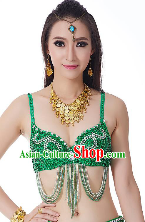 Indian Bollywood Belly Dance Green Tassel Brassiere Asian India Oriental Dance Costume for Women