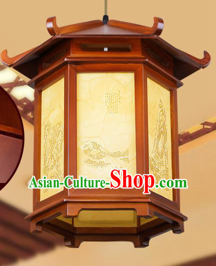 Chinese Classical Handmade Wood Palace Lanterns Hanging Lantern Ancient Painted Ceiling Lamp