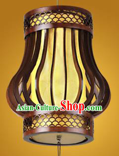 Chinese Classical Handmade Wood Parchment Palace Lanterns Yellow Hanging Lantern Ancient Ceiling Lamp