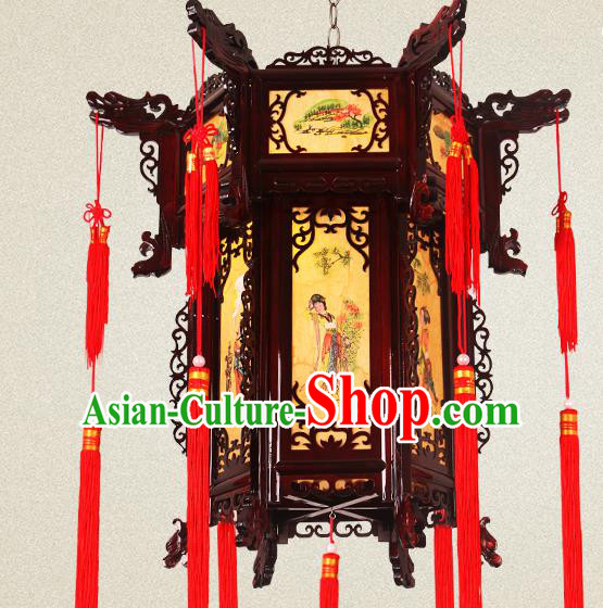Traditional Chinese Painted Palace Lanterns Wood Hanging Lantern Ancient Ceiling Lamp