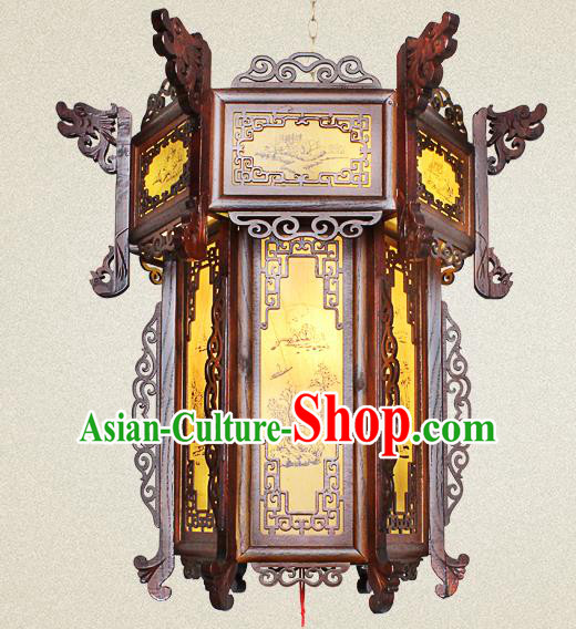 Traditional Chinese Dragon Head Palace Lanterns Handmade Wood Hanging Lantern Ancient Ceiling Lamp