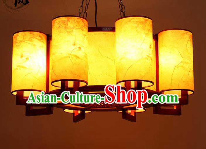 Traditional Chinese Painted Parchment Hanging Palace Lanterns Handmade Eight-Lights Lantern Ancient Ceiling Lamp