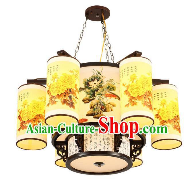 Traditional Chinese Printing Peony Six-lights Ceiling Palace Lanterns Handmade Wood Lantern Ancient Lamp