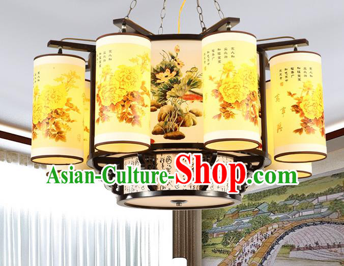 Traditional Chinese Printing Peony Eight-lights Ceiling Palace Lanterns Handmade Wood Lantern Ancient Lamp