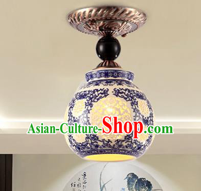 Traditional Chinese Ceiling Palace Lanterns Handmade Blue and White Porcelain Lantern Ancient Porch Lamp