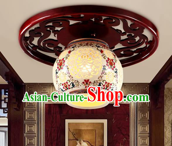 Traditional Chinese Ceiling Palace Lanterns Handmade Pierced Porcelain Lantern Ancient Lamp