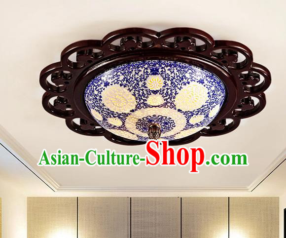 Traditional Chinese Ceiling Palace Lanterns Handmade Pierced Blue Porcelain Lantern Ancient Lamp