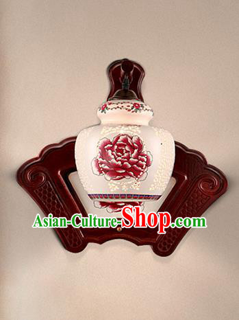 Traditional Chinese Palace Lanterns Handmade Printing Peony Porcelain Wall Lantern Ancient Lamp