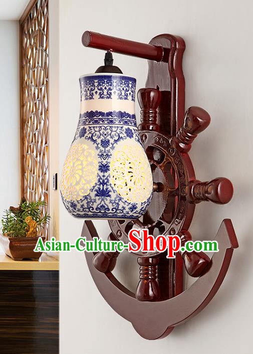 Traditional Chinese Palace Lanterns Handmade Blue Porcelain Wall Lantern Ancient Lamp