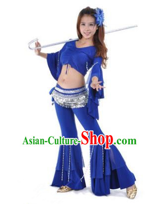 Indian National Belly Dance Mandarin Sleeve Clothing India Oriental Dance Royalblue Costume for Women