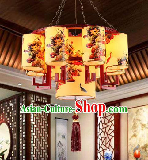 Traditional Chinese Palace Painted Hanging Lanterns Handmade Lantern Ancient Ceiling Lamp