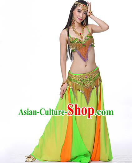 Indian National Belly Dance Clothing India Oriental Dance Sexy Light Green Dress for Women