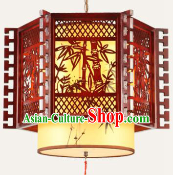 Traditional Chinese Wood Carving Bamboo Palace Hanging Lanterns Handmade Lantern Ancient Ceiling Lamp
