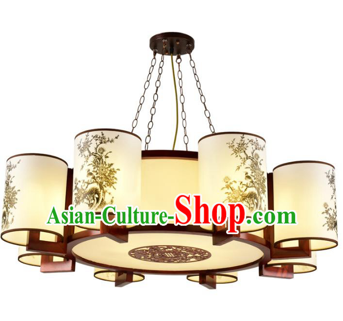 Traditional Chinese Painted Hanging Palace Lanterns Handmade Eight-Lights Lantern Ancient Ceiling Lamp