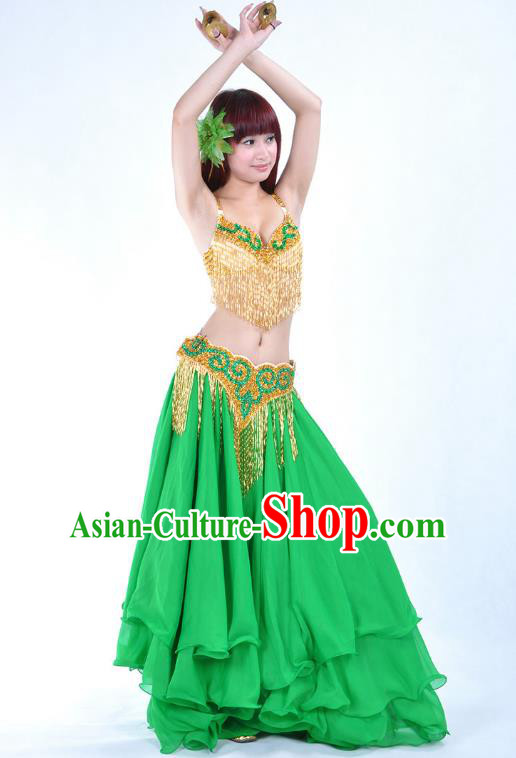 Traditional Indian National Belly Dance Green Dress India Bollywood Oriental Dance Costume for Women