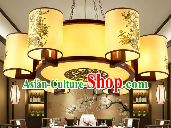 Traditional Chinese Painted Hanging Palace Lanterns Handmade Six-Lights Lantern Ancient Ceiling Lamp
