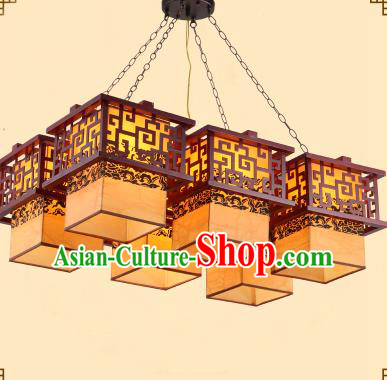 Traditional Chinese Six-Lights Palace Lanterns Handmade Wood Hanging Lantern Ancient Ceiling Lamp