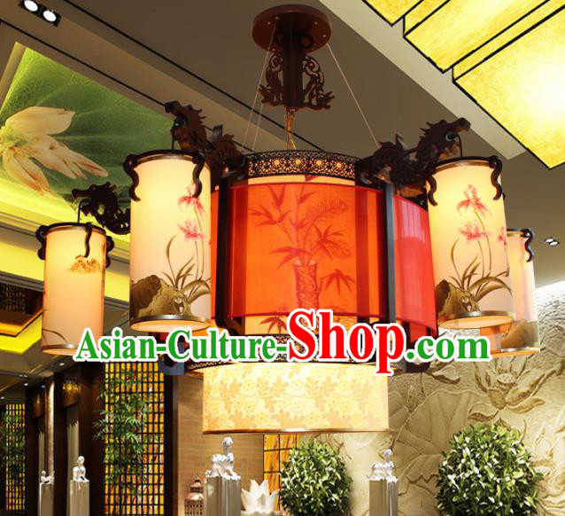Traditional Chinese Ceiling Palace Lanterns Handmade Printing Orchid Hanging Lantern Ancient Lamp