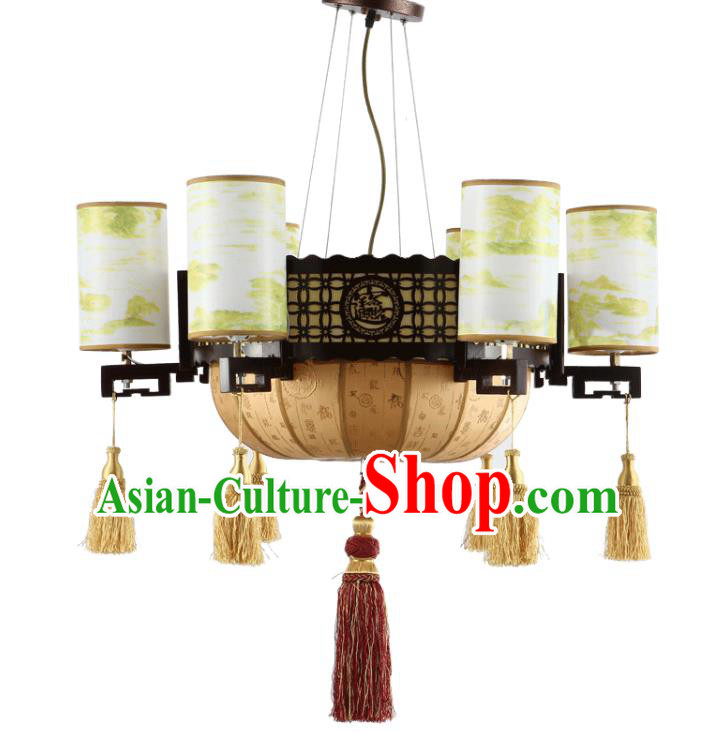 Traditional Chinese Ceiling Palace Lanterns Handmade Printing Hanging Lantern Ancient Lamp