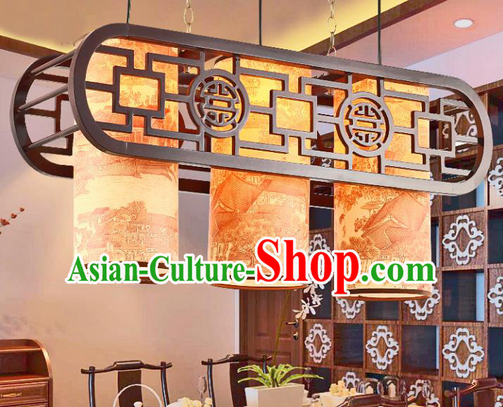 Traditional Chinese Three-Lights Ceiling Palace Lanterns Handmade Wood Hanging Lantern Ancient Lamp