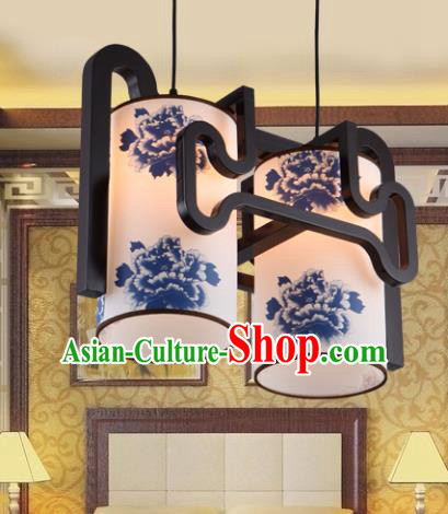 Traditional Chinese Painting Peony Two-Lights Ceiling Palace Lanterns Handmade Wood Hanging Lantern Ancient Lamp
