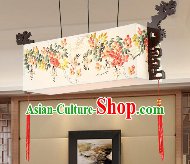 Traditional Chinese Painting Flowers Ceiling Palace Lanterns Handmade Wood Hanging Lantern Ancient Lamp