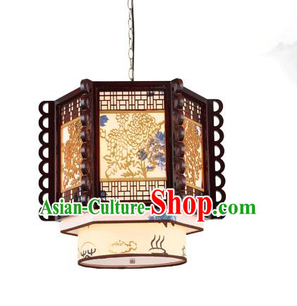Traditional Chinese Wood Carving Chrysanthemum Ceiling Palace Lanterns Handmade Lantern Ancient Lamp