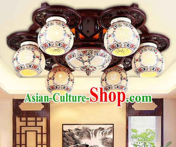 Traditional Chinese Six-Lights Ceiling Palace Lanterns Handmade Porcelain Lantern Ancient Lamp