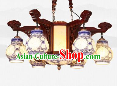 Traditional Chinese Six-Lights Ceiling Wood Palace Lanterns Handmade Porcelain Lantern Ancient Lamp