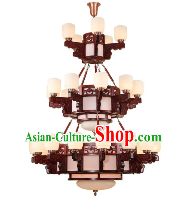Traditional Chinese Three-layers Ceiling Palace Lanterns Handmade Wood Carving Lantern Ancient Lamp