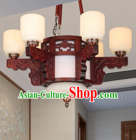 Traditional Chinese Six-lights Ceiling Palace Lanterns Handmade Wood Carving Lantern Ancient Lamp