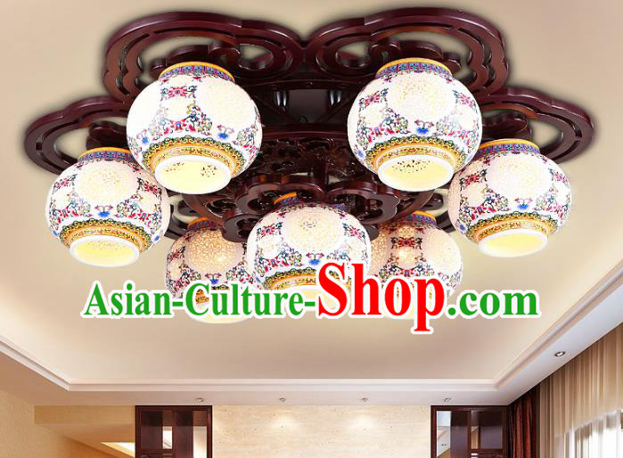 Traditional Chinese Porcelain Ceiling Palace Lanterns Handmade Seven-Lights Lantern Ancient Lamp