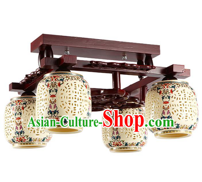 Traditional Chinese Porcelain Carving Hanging Ceiling Palace Lanterns Handmade Four-pieces Lantern Ancient Lamp