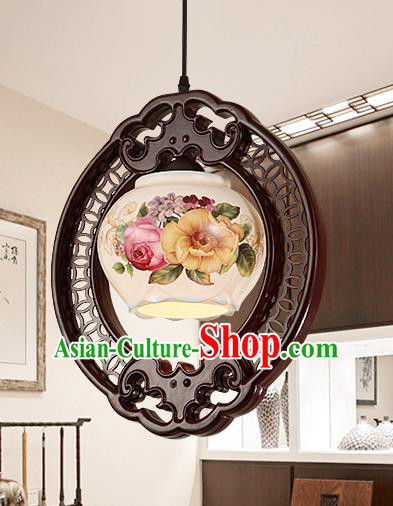 Traditional Chinese Painting Hanging Ceiling Palace Lanterns Handmade Porcelain Lantern Ancient Lamp