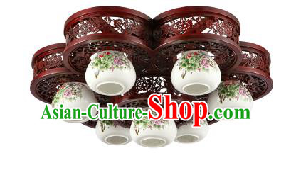 Traditional Chinese Porcelain Ceiling Palace Lanterns Handmade Seven-pieces Lantern Ancient Lamp