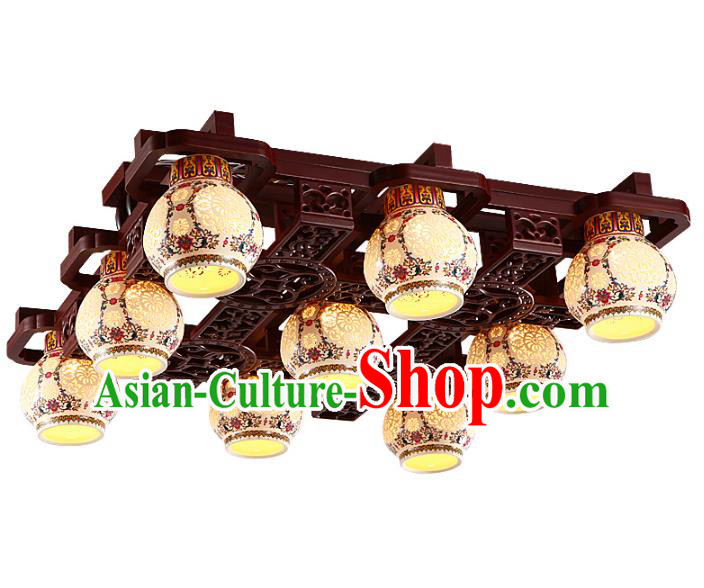 Traditional Chinese Porcelain Ceiling Palace Lanterns Handmade Nine-pieces Lantern Ancient Lamp