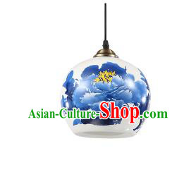 Traditional Chinese Painting Peony Porcelain Hanging Ceiling Palace Lanterns Handmade Lantern Ancient Lamp