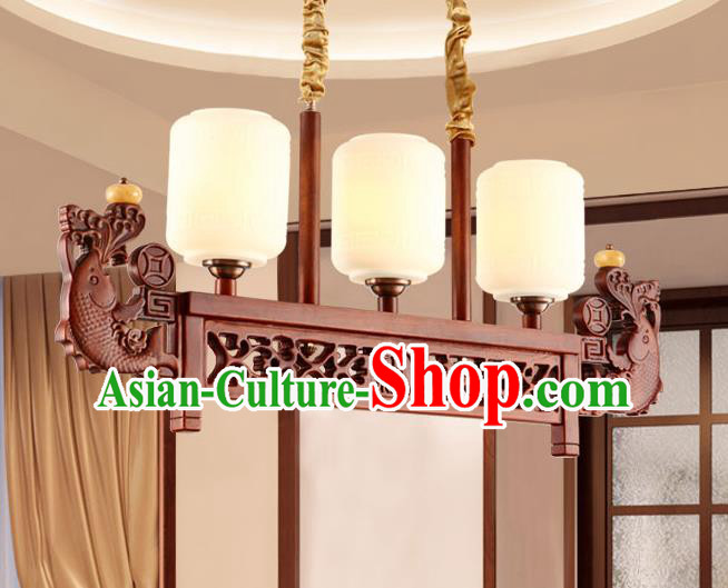 Traditional Chinese Wood Carving Fish Ceiling Lanterns Ancient Handmade Lantern Ancient Lamp